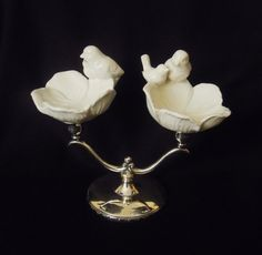 Sterling silver plated candelabra, ceramic dishes