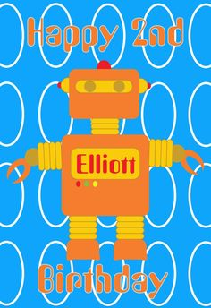 World of Pinatas - Robot Blue Background Personalized Poster, $16.99 (http://www.worldofpinatas.com/robot-blue-background-personalized-poster/)