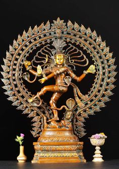 Brass Nataraja Statue with Oval Arch 28""