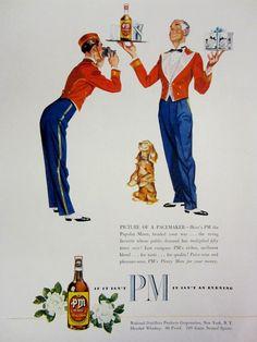 1948 PM Whiskey Vintage Advertisement Kitchen Wall Art Restaurant Bar Decor Original Magazine Print Ad Alcohol Liquor Paper Ephemera