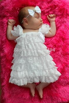 Christening Baptism Wedding Dress White Baby Photography Prop Outfit (newborn to 3 months)