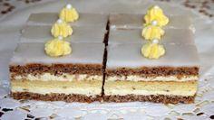 Citrónovo-orechové rezy Czech Recipes, Ethnic Recipes, Desert Recipes, Vanilla Cake, Nutella, Tiramisu, Cake Recipes, Cheesecake, Kitchens