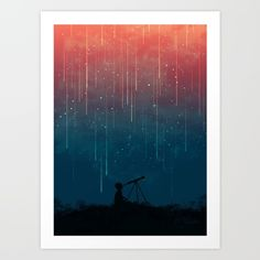 Buy Meteor rain Art Print by Picomodi. Worldwide shipping available at Society6.com. Just one of millions of high quality products available.