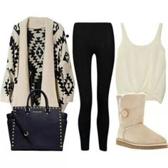 -black leggings -white fuzzy boots/uggs -white tank top/crop top -aztec print (optional) long knit cardigan sweater, can also just be b&w with no design.