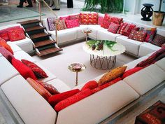 sunken lounge  (nfa) one of my imagined interior home design.....great idea for those who entertain regularly or want to house a large group in one place.