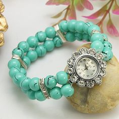 Charming Watch Bracelet, Glass Beads with Alloy Watch Head and Brass Rhinestone Beads, Turquoise, about 45mm inner diameter