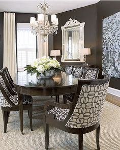 Grey dining room with white curtains and white mirror | interior design, home decor, dining room. More news at http://www.bocadolobo.com/en/news/