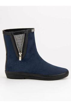 Semišové modré gumaky s ozdobným zipsom Kylie Kylie, Chelsea Boots, Tommy Hilfiger, Ankle, Shoes, Fashion, Moda, Zapatos, Wall Plug