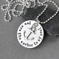 Anchor necklace, inspirational, silver,anchor, ball chain, long chain,for him, for her,unisex jewelry,nautical,you are the anchor to my soul by JewelMango on Etsy