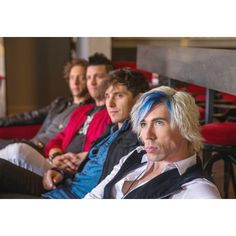 Emo-pop band Marianas Trench Josh Ramsay, front, Matt Webb, Mike Ayley... ❤ liked on Polyvore featuring swimwear and astoria