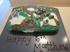 Cake for M's army party. It also was 3 different flavours inside. (One of the easier cakes I've decorated! Slap on the icing and done! Army Party, Icing, Cakes, Easy, Desserts, Food, Decor, Tailgate Desserts, Scan Bran Cake
