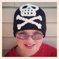 Crochet Rochelle: Kids Pirate Beanie...free beanie pattern and free skull and cross bones appliqué.