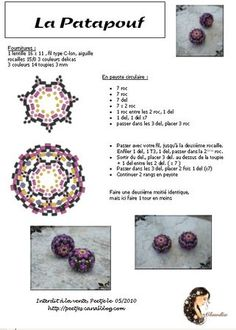 Beading ___ Bead Weaving ___ FREE Tutorial ___ How to Make the La Patapouf Beaded Bead ___ Part 02/02 ___ Pic and Pattern with Diagrams