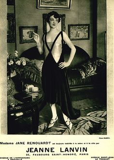 Advertisement for the House of Lanvin: ca. 1920's, French, Madame Jane Renouardt wearing shoes by Jeanne Lanvin.