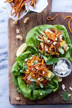 Curried Salmon Burger Lettuce Wraps w/Crispy Sweet Potato Straws + Goat Cheese. | 29 Fresh And Delicious Lettuce Wrap Ideas