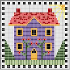 Haus ~ photo inspiration only Cross Stitch House, Cross Stitch Boards, Cross Stitch Designs, Cross Stitch Patterns, Cross Stitching, Cross Stitch Embroidery, Pixel Art, Free Cross Stitch Charts, Christmas Embroidery
