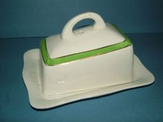 1920s Green & White Cheese Dish / Butter Dish by BiminiCricket