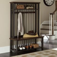 Wood and Metal Entryway Hall Tree Coat Rack Bench and Shelf Chestnut Finish Purchase from http://stores.ebay.com/jodezegiftsnmore
