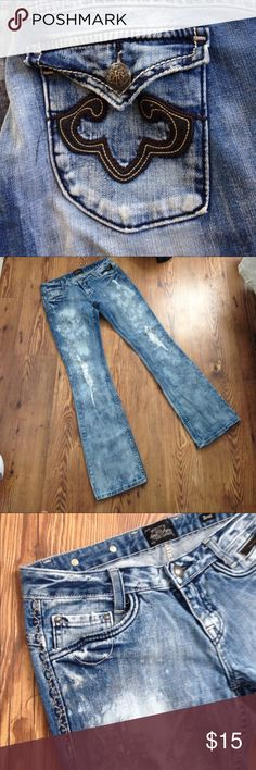 Designer Distressed Style Bootcut Jeans Acid wash denim jeans, awesome!!! Express Jeans Boot Cut