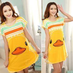 8669f24a19 Fashion Women Cute Cartoon Polka Dot Sleepwear Short Sleeve Sleepshirt  Sleepdress 10 Styles WY2703