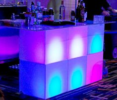 6 ft Cube Bar w/ LED Lights. Perfect bar set up for any Miami party occasion. 80s Birthday Parties, Birthday Party Themes, Miami Vice Theme, Miami Beach Party, Miami Nightlife, Rooftop Party, Bar Set Up, Neon Party, Party Planning