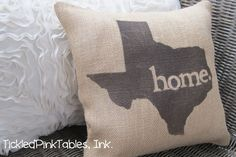 """12""""x12"""" Texas """"Home"""" Burlap Throw Pillow. $12.99 need if I end up moving to OK!"""