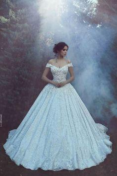 Stunning Beaded Wedding Dress,White Off The Shoulder Bridal Dress,Beaded Floor Length Wedding Gown on Storenvy 15 Dresses, Ball Dresses, Pretty Dresses, Bridal Dresses, Dress Outfits, Dress Up, Evening Dresses, Ball Gowns, Pageant Dresses