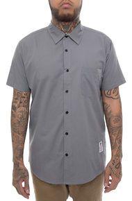 Something Strong Something Shagworthy Solid Short Sleeve Shirt in Grey  - Large