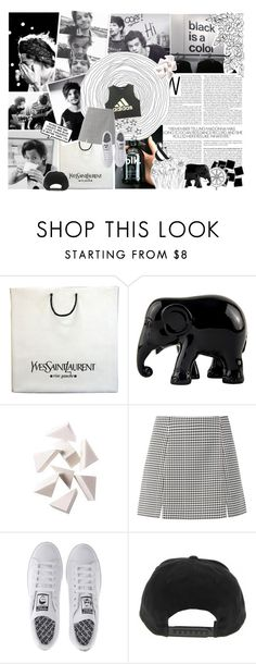 """LARRY IN BLACK AND WHITE"" by thecrazygirly ❤ liked on Polyvore featuring Yves Saint Laurent, The Elephant Family, Bobbi Brown Cosmetics and adidas"
