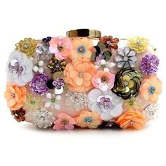 Handbags & Wallets - Evening bag unique wallet Fashion Pink sequins Beaded Clutch high-grade beaded flower - How should we combine handbags and wallets? Floral Clutch Bags, Floral Clutches, Clutch Purse, Purse Wallet, Pouch, Beaded Clutch, Beaded Bags, Flower Bag, Flower Shape