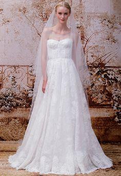 Monique Lhuillier Fall 2014 strapless lace A-line gown