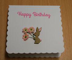 Cottage Cutz Rabbit With Flowers Birthday Card