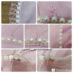 This Pin was discovered by Uzm Crochet Borders, Bead Crochet, Embellishments, Jewlery, Diy And Crafts, Pearl Necklace, Projects To Try, Embroidery, Beads