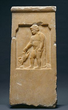 "Marble Gravestone of Moschion with his Dog; Greek, 375 B.C.; 24-3/16"" x 11-5/8"" x 2-1/2""; Getty Museum, Malibu"