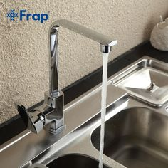Frap Modern Style Brass Solid Kitchen Faucet Cold and Hot Water Mixer Right-angle Design 360 Degree Rotation F4073