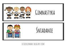 Dzieckiem bądź: Ilustrowany plan dnia DO POBRANIA Classroom Inspiration, Children, Kids, Education, Comics, School, Character, Therapy, Bebe