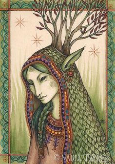 More about the antlered goddess....  http://www.seawitchartist.com/Elen-of-the-Ways-AntleredGodess.htm