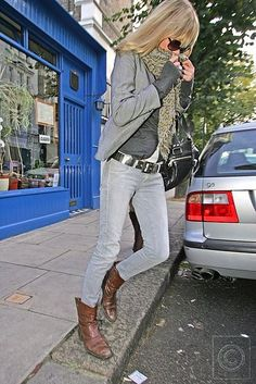 Layers, scarf and boots....love Kate Moss's style