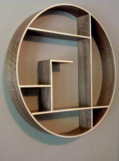 Round Shelving Unit Reclaimed Wood Shelf Wall by KNCustomShelving