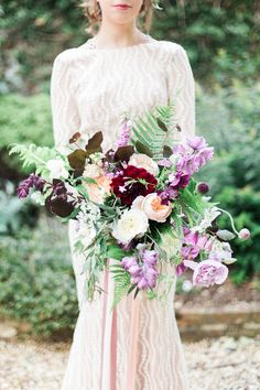 Bouquet Flowers Large Burgundy Masala Blush Peach Rose Fern Dahlia Bride Bridal Fine Art Bohemian Luxe Wedding Ideas http://jessicadaviesphotography.co.uk/