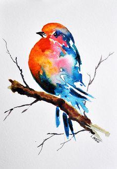 ORIGINAL Watercolor Bird Painting Colorful Robin di ArtCornerShop