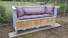 French Provincial Dresser Re-purpose into a Seating Bench with storage drawers.