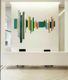 Image of 'Sound Wave' no14 | modern geometric abstract painted wood wall sculpture | by Rosemary Pierce
