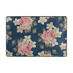 U LIFE Floral Pink Roses Large Area Rug Cover Runner Floo...