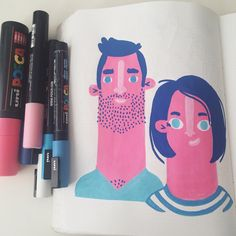 Hello! #posca #illustration #character #nuuna #illustratie