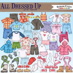 All Dressed Up Digital clip art children's by SusanFitchDesign