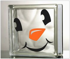 "Glass Block Vinyl Decal  ""Snowman Face""  Christmas Decal Glass Block tiles on Etsy, $5.00"