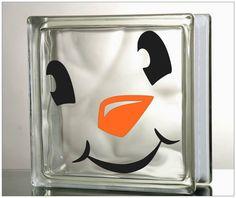 "Glass Block Vinyl Decal ""Snowman Face"" Christmas Decal Glass Block tiles on Etsy, $5.00"