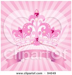 Royalty-Free (RF) Clipart Illustration of a Pink Princess Crown Above A Blank Banner On A Pink Shining Background by Pushkin