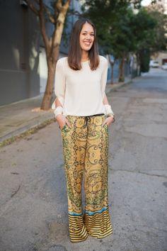 Clover Canyon pants, Zara blouse, Michael Kors watch and vintage bracelet.